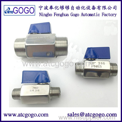 "High quality MINI Ball valve Stainless steel 1/2"" BSP Female to male thread SS316 Brewer Hardware 2 way ball valve"