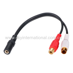 3.5MM Female to 2 RCA Female Aux Cable Adapter