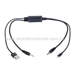 USB 3.5MM AUX Interface Cable for BMW X3 X5 iPOD iPHONE 5 5S 5C