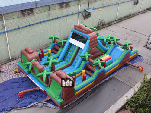 Big inflatable Jungle Lair Obstacle Assault Courses