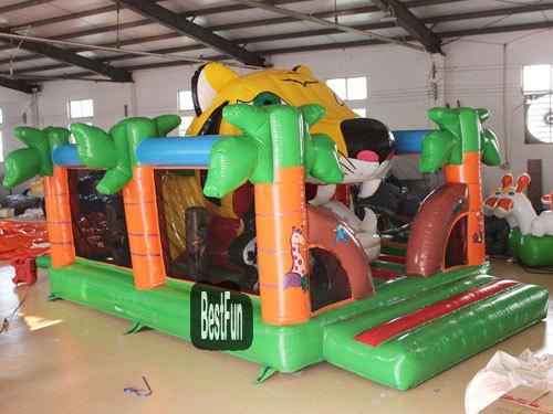 Inflatable Big Tiger Mouth Double Slide Amusement Park
