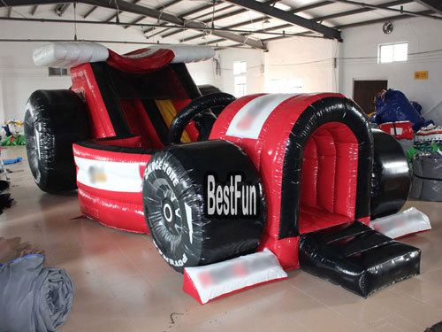 Inflatable formula car theme slide with air blower