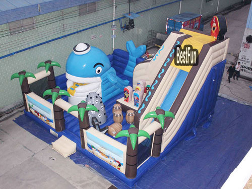Inflatable pirate ship bounce park