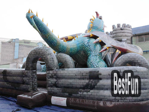 Inlatable Legend Dragon Attack Castle Giant Slide
