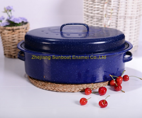 Heavy Oval Roaster with Stainless Steel Edge