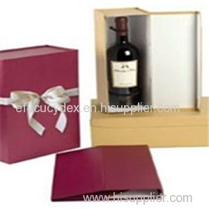 Hard Paper Printed Wine Bottle Gift Box With Ribbon