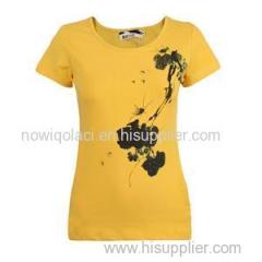 95% Cotton&5% Lycra O Neck Silk Screen Printing Women T-shirt