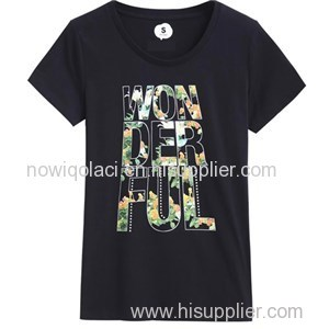 100% Cotton Ink Printing Woman Tshirt