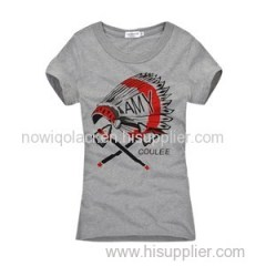 100% Cotton O Neck Silk Screen Printing Women T Shirt
