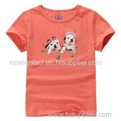 100% Cotton Cartoon Logo O Neck Girls Kids Tee Shirt