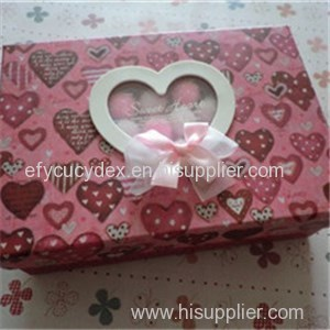 Custom Designed Rectangle Candies Package Gift Box With Heart PVC Window