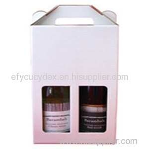 Cardboard Paper Bottle Gift Box With Window For 2 Bottles Of Wine