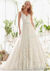Tulle V-neck Neckline A-line Wedding Dresses with Beaded Lace Appliques