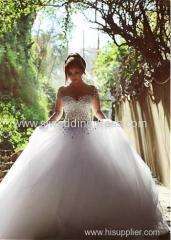 Tulle Jewel Neckline Ball Gown Wedding Dress With Rhinestones