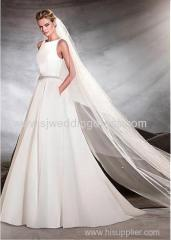 Satin Bateau Neckline A-line Wedding Dresses With Beadings
