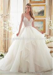 Tulle V-neck Neckline Ball Gown Wedding Dresses With Beaded Embroidery
