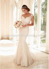 Tulle V-neck Neckline Mermaid Wedding Dresses with Beaded Lace Appiques