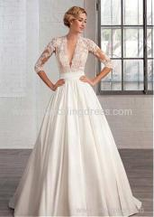 Tulle & Satin Queen Anne Neckline A-line Wedding Dresses with Lace Appliques