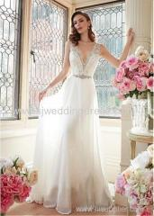Tulle & Chiffon V-neck Neckline A-line Wedding Dresses with Beaded Lace Appliques