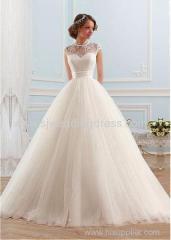 Tulle High Collar Neckline Ball Gown Wedding Dress