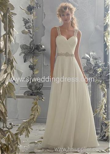 Chiffon Spaghetti Straps Neckline Natural Waistline A-line Wedding Dress With Beadings