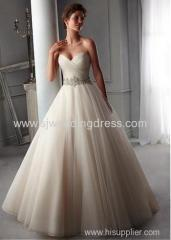 Organza Sweetheart Neckline Natural Waistline Ball Gown Wedding Dress With Embroidered Beadings & Rhinestones