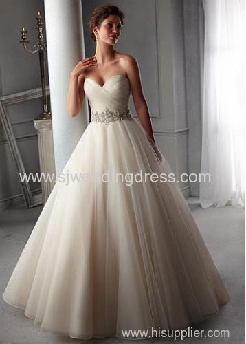Organza Sweetheart Neckline Natural Waistline Ball Gown Wedding Dress With  Embroidered Beadings U0026 Rhinestones