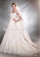 Tulle Bateau Neckline A-Line Wedding Dresses with Lace Appliques