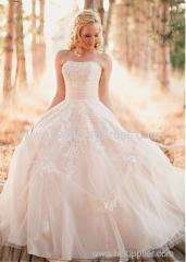 Marvelous Tulle Strapless Neckline A-line Wedding Dresses With Beaded Lace Appliques