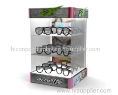 Quality assurance lockable table top reading glasses stand