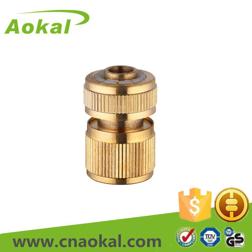 "1/2"" brass hose connector with stop"