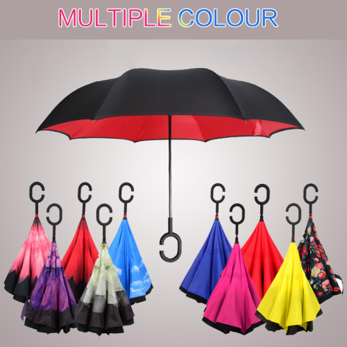 2 layer C Handle car Inverted Umbrella