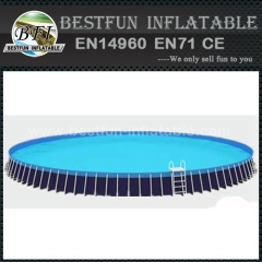 Round metal frame swimming pool