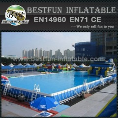 Outdoor easily assembled metal swimming pool