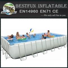 Rechthoekige metalen frame opblaasbaar zwembad