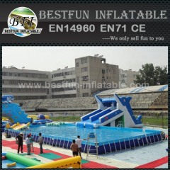 Steel rectangular metal frame swimming pool