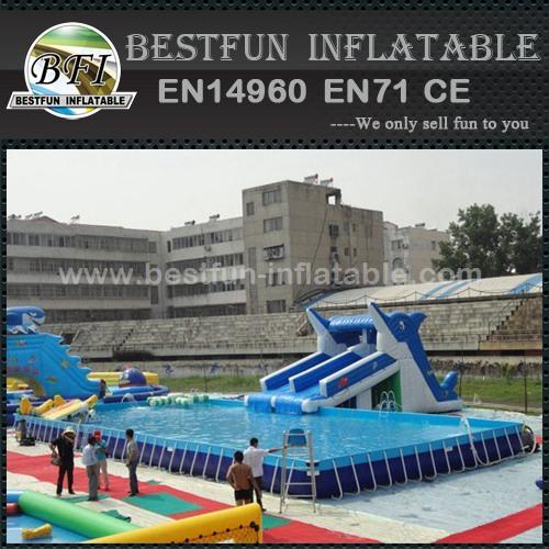 Steel rectangular metal frame swimming pool