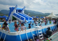 Steel frame swimming pool with strainer
