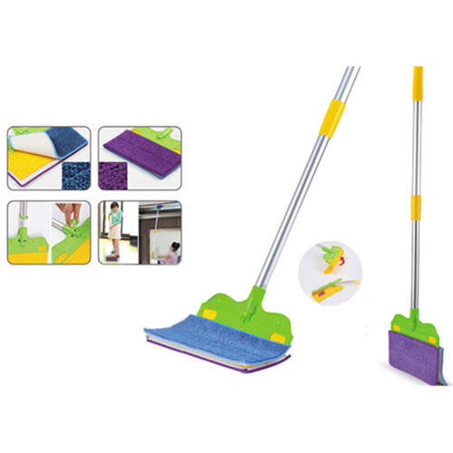 Scaleable lightweight flat mop can be work as broom