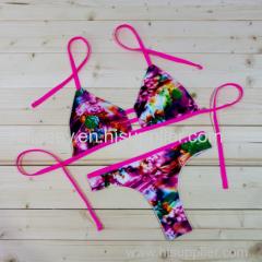 Floweral Brazilian Strappy Women Cheeky Bikini Set Vintage Nylon Butterfly Swimsuit Pink Blue Aqua Green Swimwear