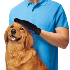 2 in 1 five finger right hand pet grooming glove brush
