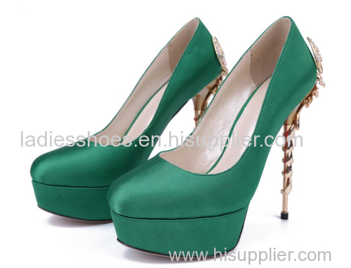 Satin cloth high heel party shoes