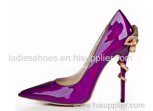 Patent leather pointy toe snake heel dress party ladies shoes