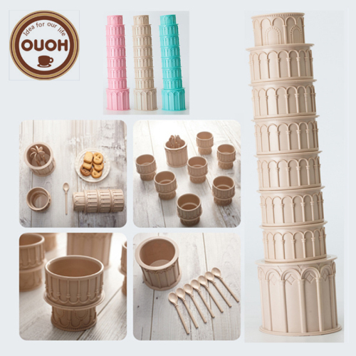 Creative Italy Pisa Leaning Tower Shaped Plastic Food Grade Coffee Cup set