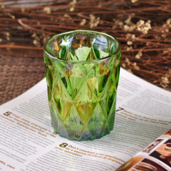 Cylinder Green Iron Plating Glass Candle Holder