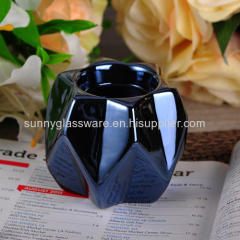 Folding style hexagram sprayed ceramic tealight holder