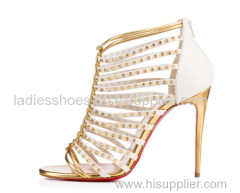 Ladies high heel strappy studded sandals