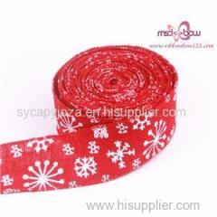 Wire Ribbon Christmas Burlap Ribbon Custom Printed Jute Ribbon
