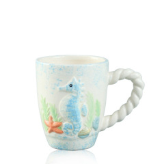 Dolomite handpainted 3D ceramic coffee mugs with animal print for souvenir