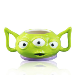Handmade ceramic 3 d alien mug with two handle for gifts